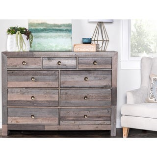 Kosas Home Oscar Charcoal Distressed Pine Wood Handcrafted 9-drawer Dresser
