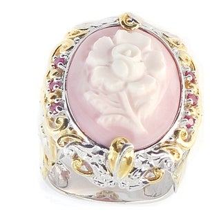 One-of-a-kind Michael Valitutti Carved Pink Cameo Flower with Ruby Ring