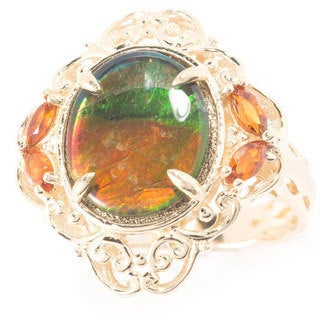 Michael Valitutti 14k Yellow Gold Ammolite and Madeira Citrine Ring