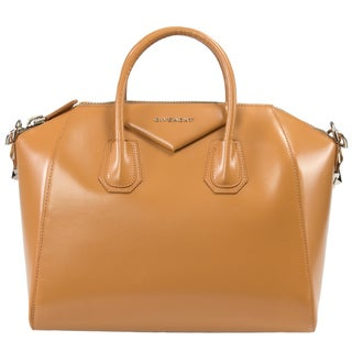 Givenchy Medium Antigona Leather Satchel Bag in Glossy Caramel with Silver Hardware