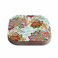 "Kess InHouse Agnes Schugardt ""Kimono Floral"" Floral Pattern Coasters (Set of 4) 4""x 4"""
