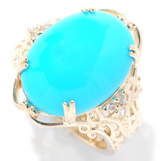 Michael Valitutti 14k Yellow Gold Cabochon Sleeping Beauty Turquoise with White Zircon Ring