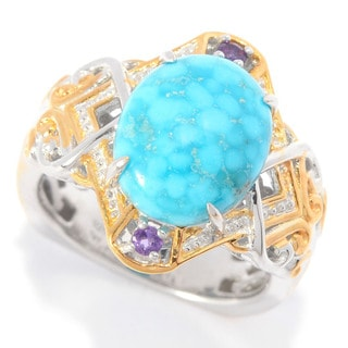 Michael Valitutti Cabochon Birds Eye Turquoise with African Amethyst Ring