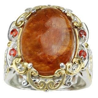 Michael Valitutti Hessonite Garnet with Orange Sapphire Ring