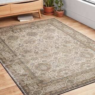 "Traditional Beige/ Taupe Floral Border Rug - 9'6"" x 13'"