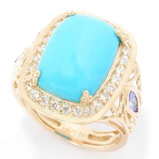 Michael Valitutti Cabochon Sleeping Beauty Turquoise Ring with Marquise Tanzanite and Round White Zircon Ring