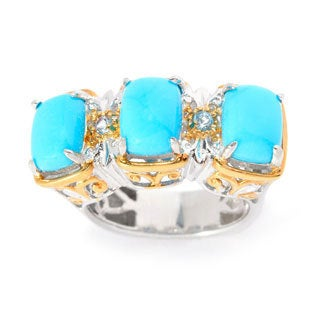Michael Valitutti Cushion Cabochon Sleeping Beauty Turquoise with Swiss Blue Topaz