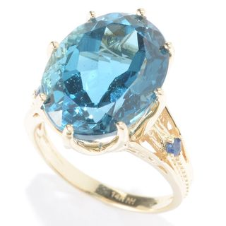 Michael Valitutti 14k Yellow Gold London Blue Topaz and Blue Sapphire Ring