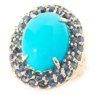Michael Valitutti Cabochon Sleeping Beauty Turquoise with Blue Sapphire Ring