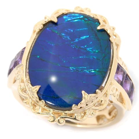 Gems en Vogue 14k Yellow Gold with Purple Ammolite Cabochon and Princess cut African Amethyst Ring