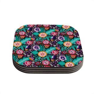 Kess InHouse Agnes Schugardt 'Folk Meadow' Purple Teal Coasters (Set of 4)