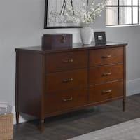 Dorel Living Brook Lane Walnut 6-Drawer Dresser