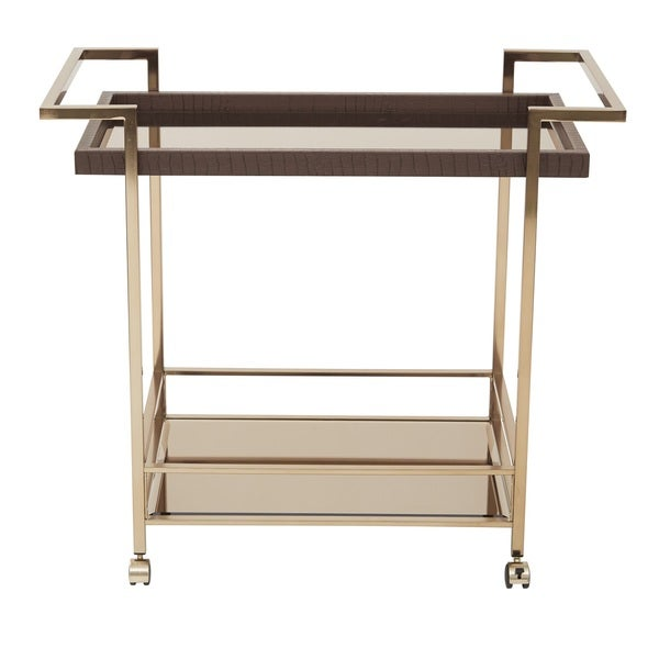 Isabella Champagne Metal Wine Cart with Glass Top