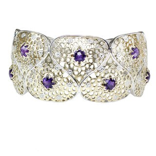 Michael Valitutti Check Top Amethyst Lotus Ribbon Bangle Bracelet