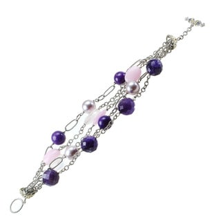 Michael Valitutti Multi Chain Beaded Amethyst, Quartz, Pearl and Jade Toggle Bracelet