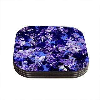 Kess InHouse Ebi Emporium 'Floral Fantasy' Purple Coasters (Set of 4)