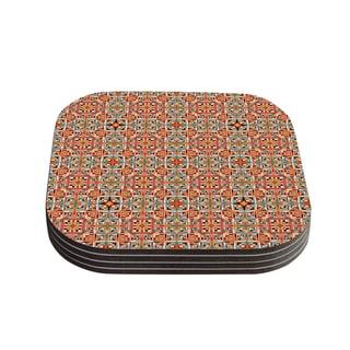 Kess InHouse Allison Soupcoff 'Henson' Orange Green Coasters (Set of 4)