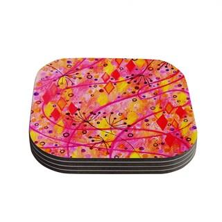 Kess InHouse Ebi Emporium 'Into the Fall' Orange Pink Coasters (Set of 4)