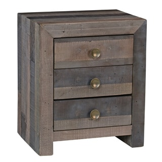 Kosas Home Oscar Charcoal Grey Distressed Recovered Pine Shipping Pallets Handcrafted 3-drawer Nightstand