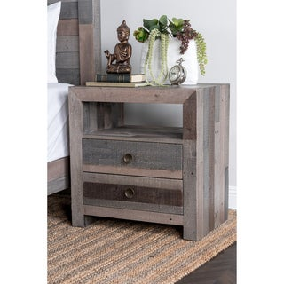 Kosas Home Oscar Handcrafted Distressed Charcoal 2-Drawer Recovered Shipping Pallets Nightstand