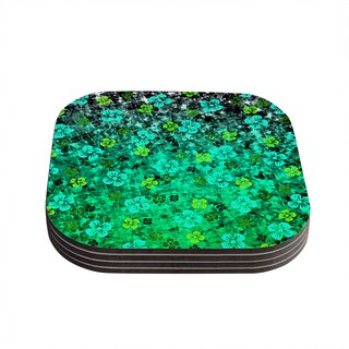 Kess InHouse Ebi Emporium 'Luck of the Irish' Green Floral Coasters (Set of 4)