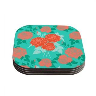 "Kess InHouse Anneline Sophia ""Summer Rose Orange"" Teal Green Coasters (Set of 4) 4""x 4"""