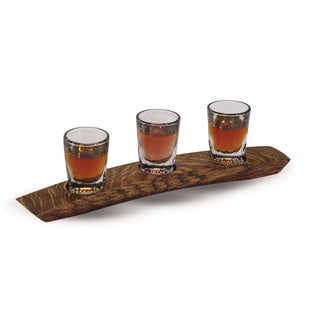 Versil Clear Glass 2.2-ounce Whiskey/Scotch Flight Shot Glasses and French Bordeaux Wine Barrel Stave Base
