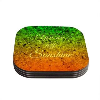 Kess InHouse Ebi Emporium 'You Are My Sunshine' Green Orange Coasters (Set of 4)