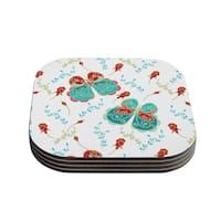 """Kess InHouse Anneline Sophia """"Leafy Butterflies Red"""" Aqua Butterfly Coasters (Set of 4) 4""""x 4"""""""