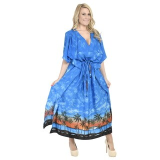 La Leela Kaftan Soft Smooth Likre Dress Women Coverup Beachwear Loose Plus Blue