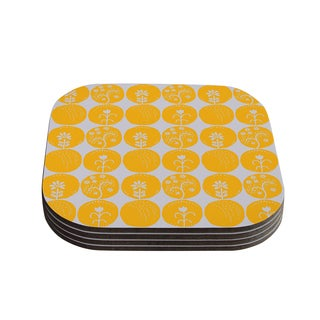 Kess InHouse Anneline Sophia 'Dotty Papercut Yellow' Circles Gray Coasters (Set of 4)