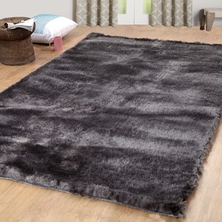 Affinity Home Collection Boston Shag Grey Polyester Area Rug (5' x 8')