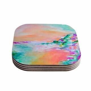 Kess InHouse Ebi Emporium 'Something About the Sea 4' Teal Orange Coasters (Set of 4)