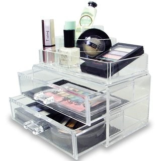 Ikee Design 2-piece Acrylic Jewelry and Cosmetic Storage Display Box
