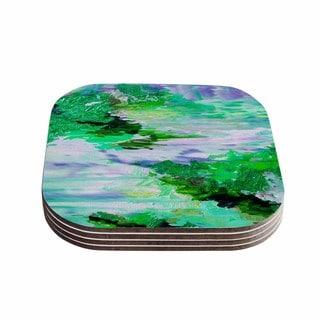 Kess InHouse Ebi Emporium 'On Cloud Nine - 6' Green Blue Coasters (Set of 4)