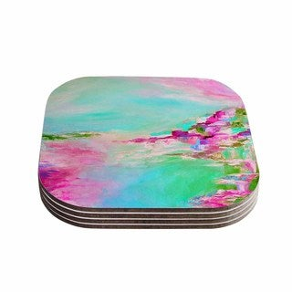 Kess InHouse Ebi Emporium 'Something About the Sea 2' Teal Pink Coasters (Set of 4)
