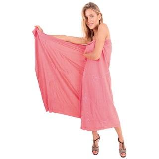 La Leela Women Rayon Hand Embroidered Swimwear Bikini Skirt 78X43Inch Peach Wrap