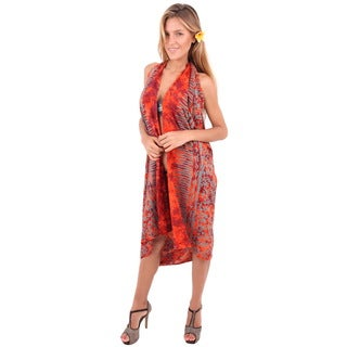 La Leela Orange Rayon Beach Skirt Swimwear Plus Sarong Cover-up With Free Sarong Clip