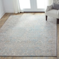 Traditional Blue/ Stone Grey Floral Distressed Rug - 9'6 x 13'