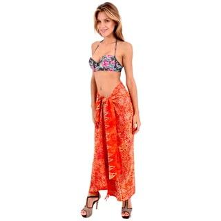 La Leela Women's Anthemion Orange Soft Rayon 70 x 43-inch Swimwear Plus Skirt With Free Sarong Clip