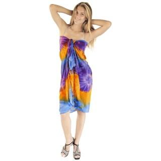 La Leela Women Smooth Hand Tie Dye Rayon Plus Beach Wrap Skirt 62X43 Inch Blue