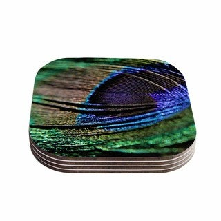 """Kess InHouse Angie Turner """"Peacock Feather"""" Green Blue Coasters (Set of 4) 4""""x 4"""""""