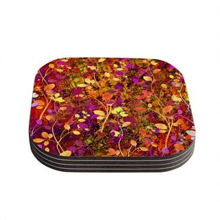 Kess InHouse Ebi Emporium 'Amongst the Flowers - Warm Sunset' Pink and Orange Coasters (Set of 4)