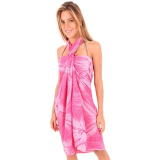 La Leela Soft Rayon Hand Tie Dye Swirls Wrap Cover up Sarong 70X43 Inch Pink
