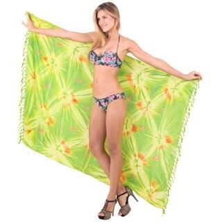 La Leela Soft Rayon Hand Tie Dye Swirls Wrap Cover-up 70-inch x 43-inch Green Sarong - Free Sarong Clip