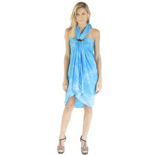 La Leela Women's Turquoise Hand Tie-dyed Swirls Soft Rayon 70-inch x 43-inch Cover-up Sarong With Fr