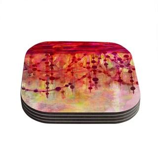 Kess InHouse Ebi Emporium 'Prismacolor Pearls' Pink Orange Coasters (Set of 4)