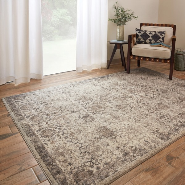 Shop Traditional Beige Taupe Floral Distressed Rug 9 6