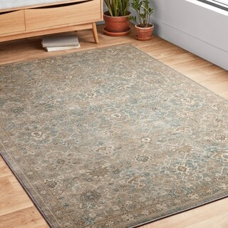 Traditional Beige/ Taupe Floral Distressed Rug - 7'10 x 10'6