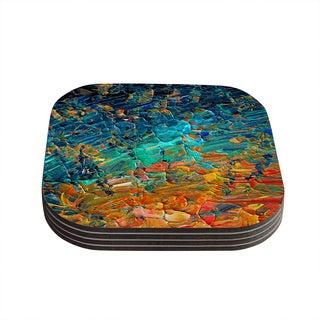 Kess InHouse Ebi Emporium 'Eteranl Tide II' Teal Orange Coasters (Set of 4)